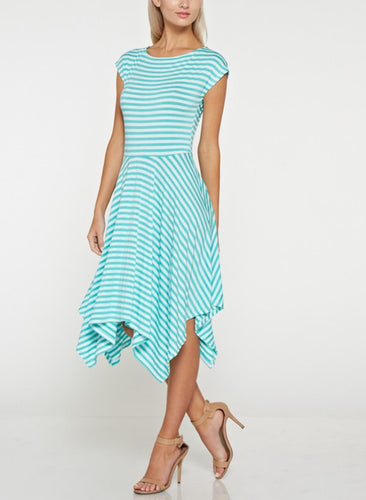 Mint & White Stripe Handkerchief Jersey Dress