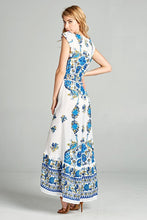 Cap Sleeve Blue and Yellow Floral Print Hi- Low Dress