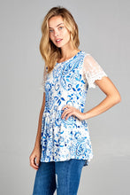 Ivory Blue Paisley Lace Sleeve Babydoll Top