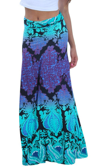 Aqua Purple Printed Maxi Skirt