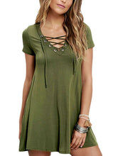 Army Green Casual Lace-up Swing Dress