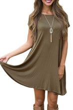 Army Green Short Sleeve Flared Pocket Tunic Dress