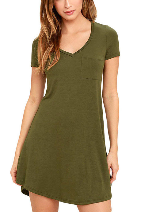 V-neck Pocket Shirt Dress - Army Green