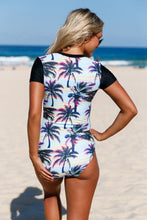 Beach Sunset Print Zip Front Short Sleeve One Piece Swimsuit
