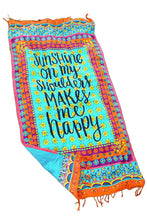 "Cotton Beach Picnic Throw ""Sunshine... Happy"""