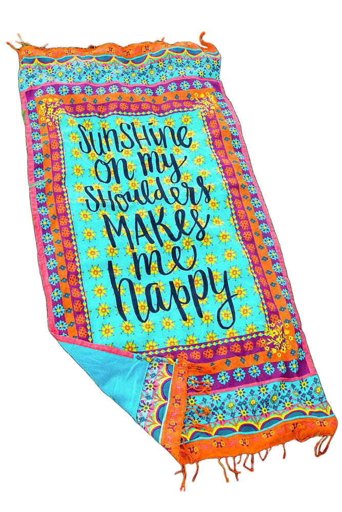 "Cotton Beach Picnic Throw ""Sunshine... Happy"