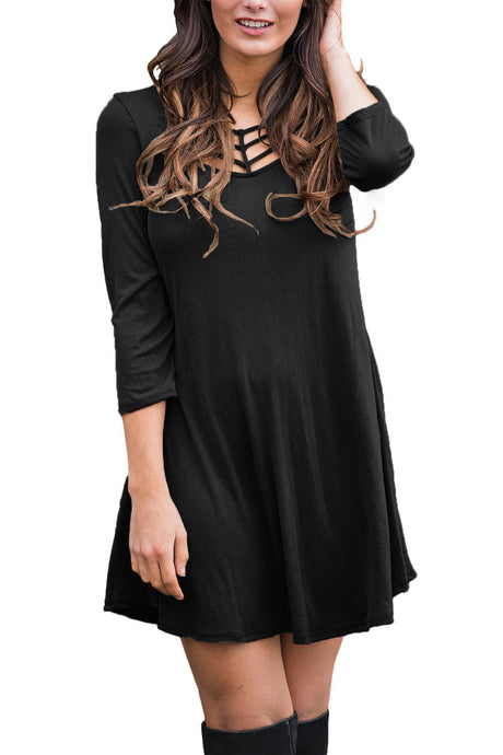 Black Cage Neckline 3/4 Sleeves Tunic Dress