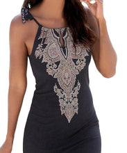 Black Printed Keyhole Front Summer Dress