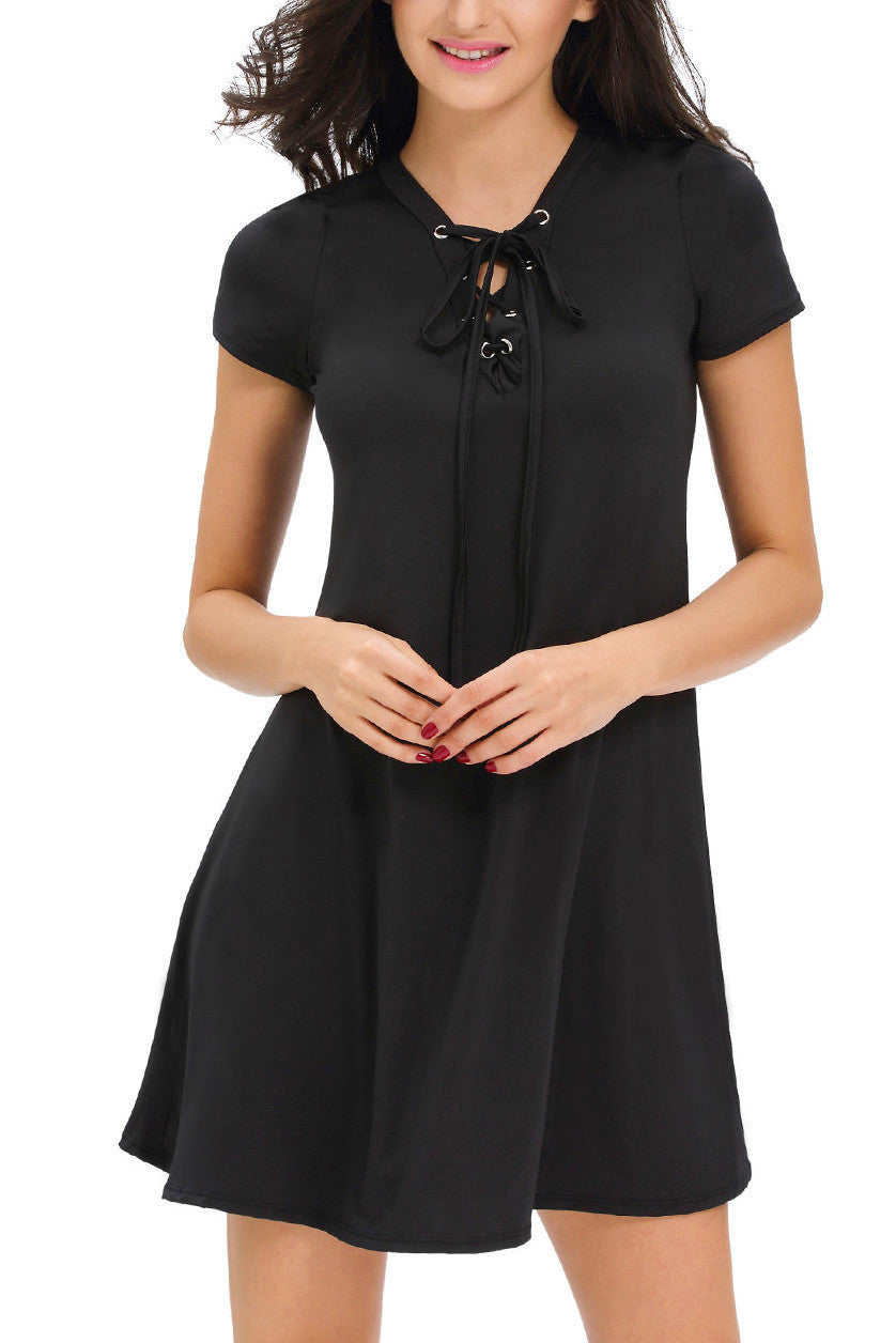 Black Casual Lace-up Short Sleeve Swing Dress