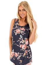 Dark Gray Floral Asymmetric Button Detail Tank Top