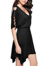 Black Lace Up Detail Half Sleeve Elastic Waist Knit Dress