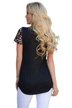 Black Leopard Print Short Sleeves Top