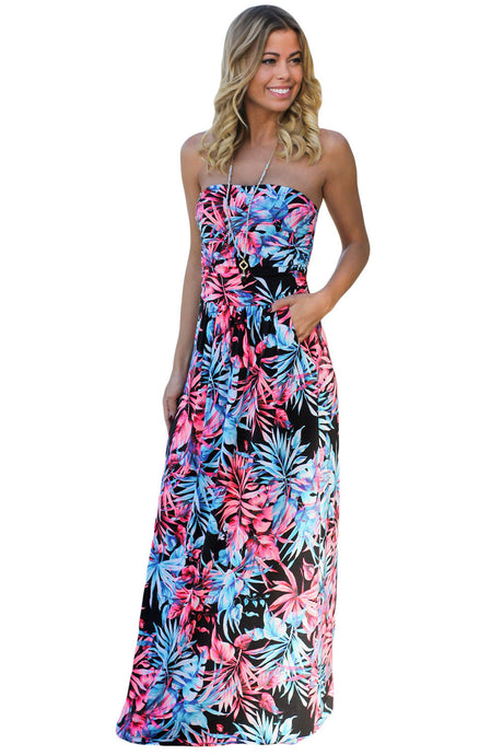 Black Neon Pink Tropical Strapless Maxi Dress with Pockets