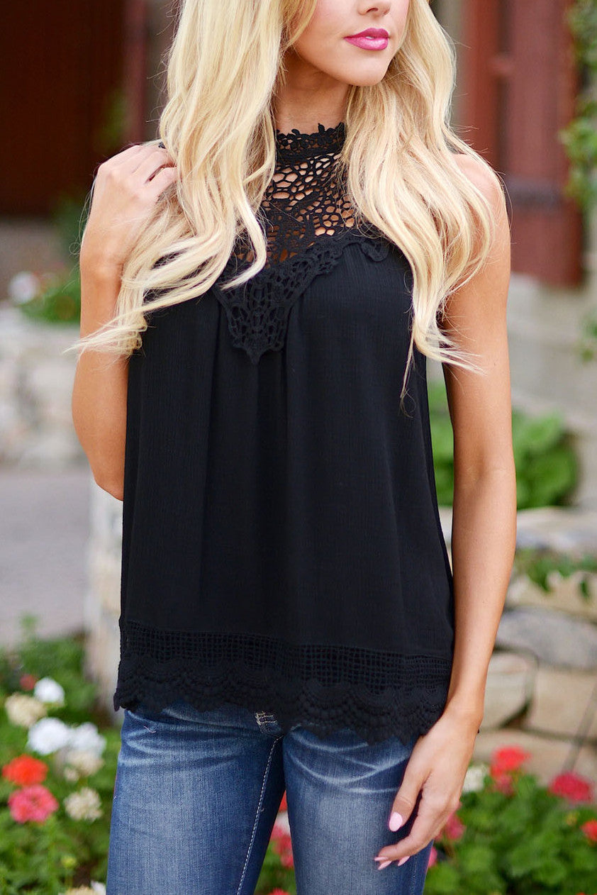 Sleeveless Crochet Lace Top - Black