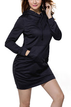 Pocket Front Long Sleeve Hoodie Mini Dress- Black