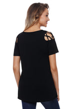 Black Crisscross Strap V-Neck Cold Shoulder Stretch Knit Top