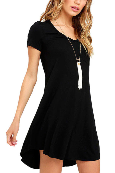 V-neck Pocket Shirt Dress - Black