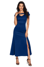 Blue or Black Cold Shoulder Front Slit Flare Long Dress