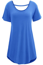 Blue Scoop Neck Short Sleeve Basic Long T-shirt Top