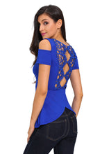 Royal Blue Crochet Back Cold Shoulder Top