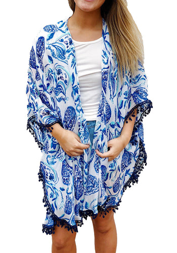 Blue Paisley Print Tassel Beach Cover-up Kimono
