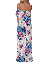 White Off Shoulder Blue Rosy Floral Ruffle Maxi Dress