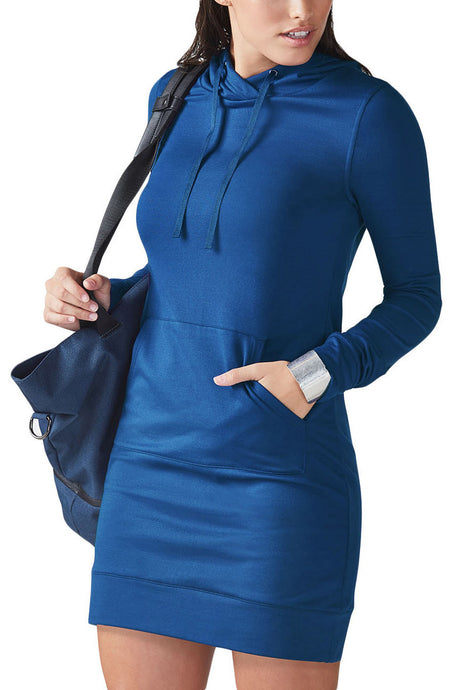 Pocket Front Hoodie Mini Dress- Blue