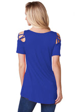 Blue Crisscross Strap V-Neck Cold Shoulder Stretch Knit Top
