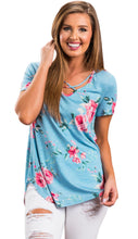 Blue Floral Stretch Crisscross Neckline Top