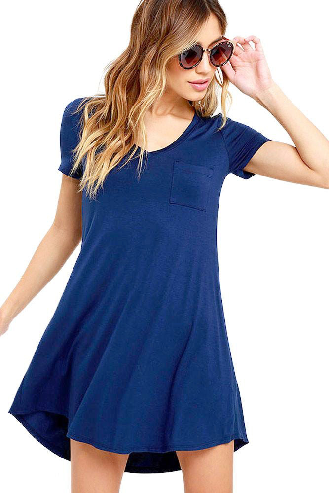 Royal Blue V-neck Pocket Shirt Dress