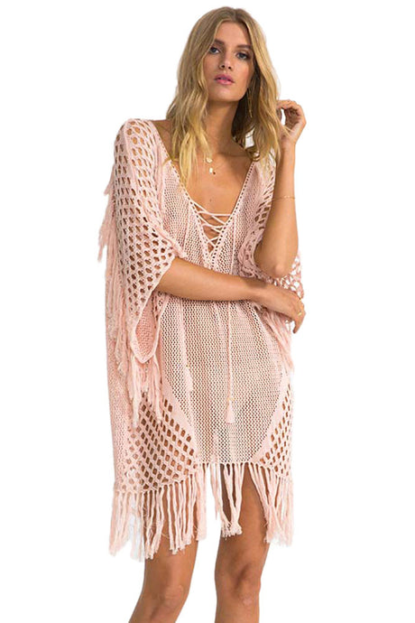 Blush Plunging V Neck Lace up Fishnet Fringe Kaftan Cover Up