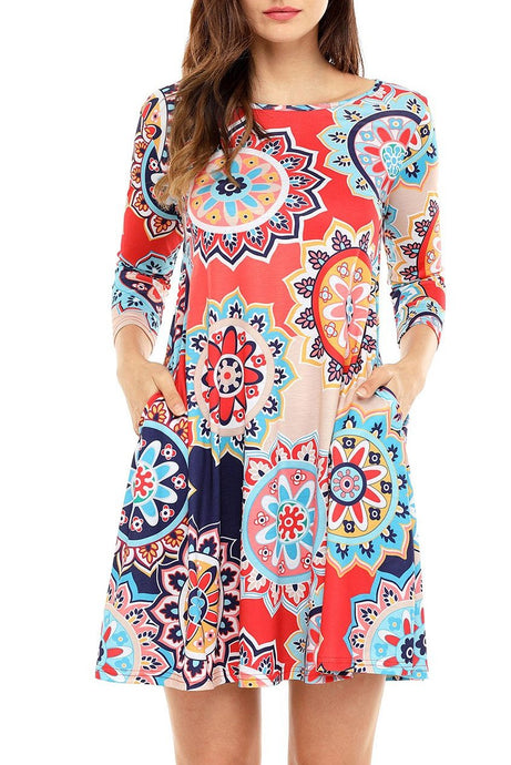 3/4 Sleeve Red Light Blue Multicolor Geometric Print Tunic Dress