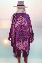 Floral Chiffon Beach Cover Up - Purple