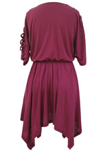 Burgundy Lace Up Detail Half Sleeve Elastic Waist Dress
