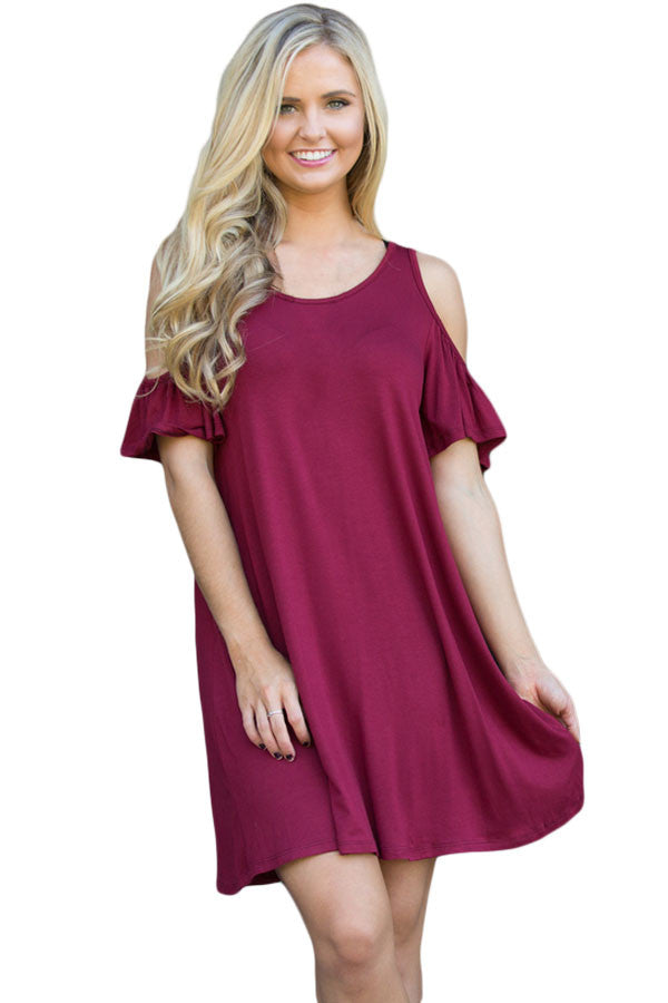 Burgundy Ruffle Sleeve Cold Shoulder Knit Dress