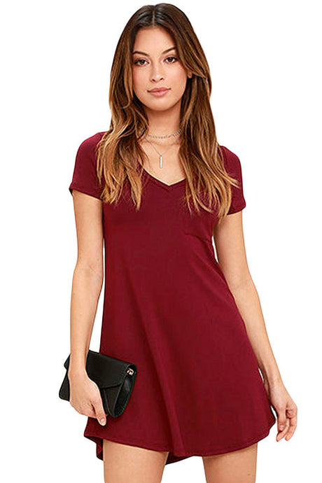 V-neck Pocket Shirt Dress - Burgundy