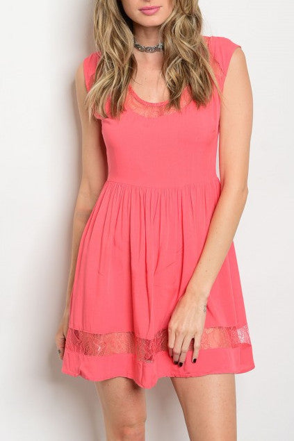 Coral Sleeveless Lace Detail Open Back Dress