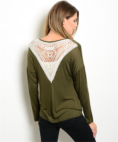 Olive Ivory Crochet Lace Back Cardigan