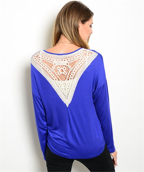 Royal Blue Ivory Crochet Lace Back Cardigan