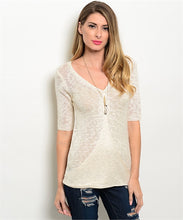 Cream V- Neck Short Sleeve Burnout Top