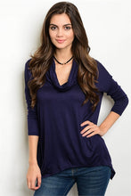 Navy 3/4 sleeve Drape Cowl Neck Jersey Tunic Top