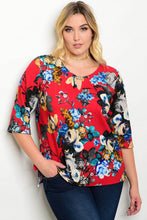 Red Floral Print Half Sleeve Top - Plus Size
