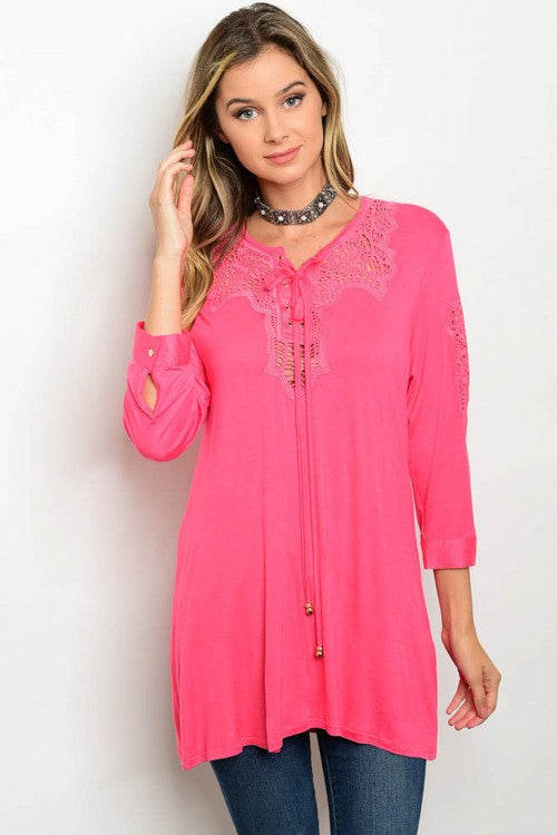 Coral 3/4 sleeve Crochet Lace Detail Jersey Tunic Top