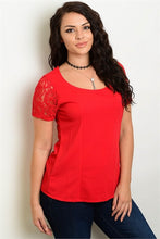 Red Short Sleeve Scoop Neck Lace Detail Top - Plus Size