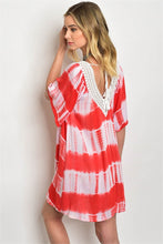 Coral White Tie Dye Lace Neckline Beach Dress
