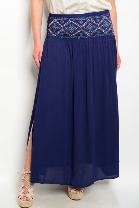Navy High Waist Embroidered Maxi Skirt- Plus Size