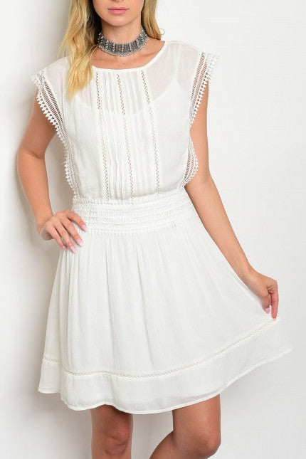 Off White Crochet Lace Dress
