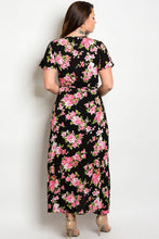 Black Pink Floral Print Belted Surplice Maxi Dress- Plus Size
