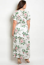 Off White Floral Print Belted Surplice Maxi Dress- Plus Size