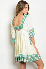 Cream Emerald Short Boho Tunic Dress